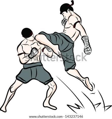 hand drawn Thai martial arts and muay thai boran - stock vector