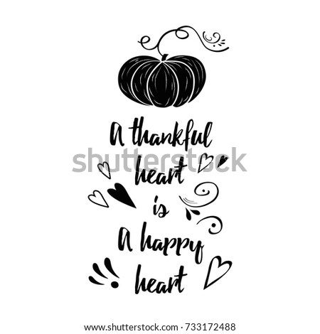 Hand Drawn Thanksgiving Label With Orange Pumpkin, Hand Drawn Ornament And  Black Text About Thankful