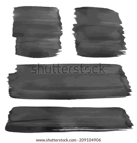 Hand drawn thick wet black strokes - stock vector