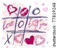 Hand drawn Tic Tac Toe Hearts, Valentine background. The valentine's day. Love heart. Hand-drawn icons symbols. Art vector illustration. - stock vector