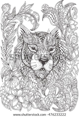 Handdrawn Tiger Ethnic Floral Doodle Pattern Stock Vector