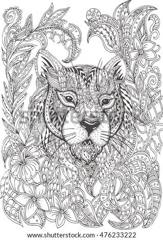Handdrawn Tiger Ethnic Floral Doodle Pattern Stock Vector