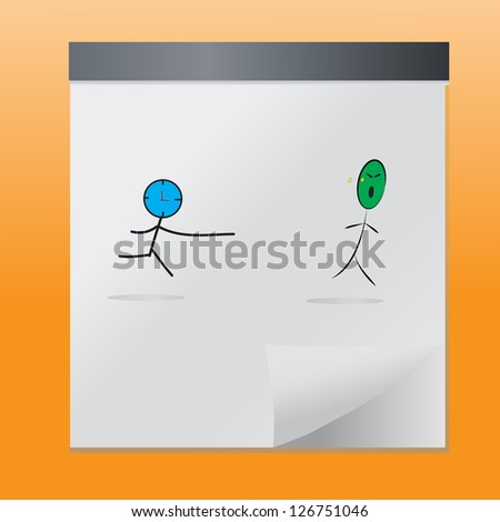 Hand drawn time run away from life,vector eps10 - stock vector