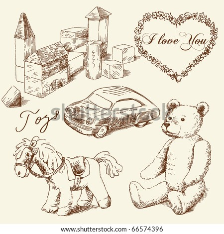 hand drawn toys - stock vector