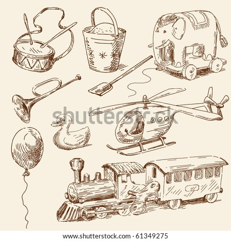 hand drawn toys collection - stock vector