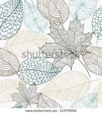 Hand drawn transparent autumn tree leaves seamless pattern background. Fall season concept. EPS10 vector file with transparency for easy editing.