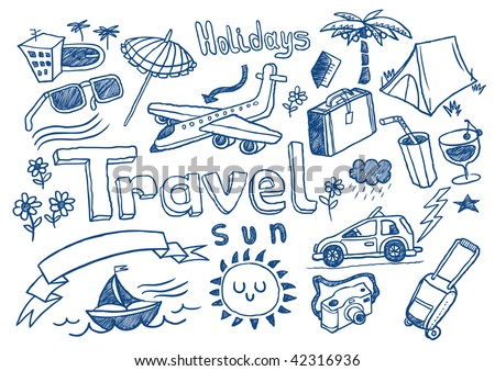 Hand drawn travel doodles. Vector illustration.