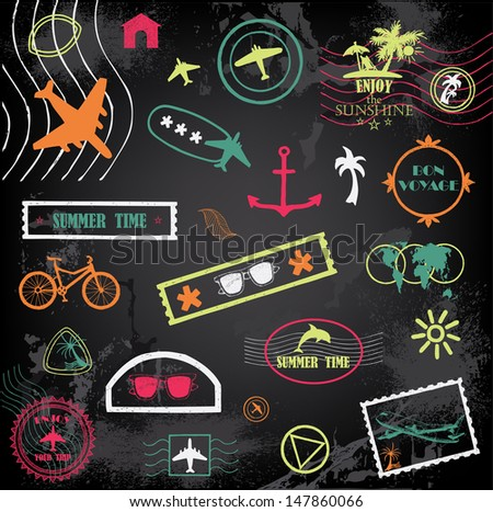 Hand-drawn travel stamps  - stock vector