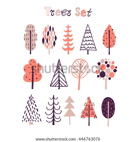 Hand drawn tree icons. Doodles and sketches. Vector set. Isolated design background. - stock vector