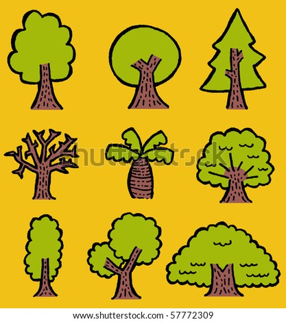 hand-drawn trees - stock vector
