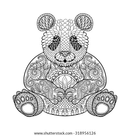 Hand drawn tribal Panda, animal totem for adult Coloring Page in zentangle style , illustration with high details isolated on white background. Vector monochrome sketch. - stock vector