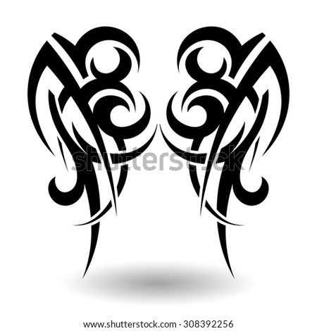 Hand Drawn Tribal Tattoo in Wings Shape. Elegant Smooth Design Over White Background. Vector Illustration. - stock vector