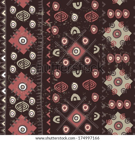 Hand drawn tribal texture in chocolate tones. - stock vector