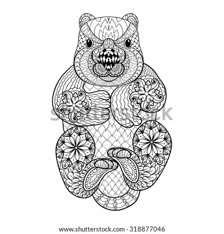 Hand Drawn Tribal Wombat, Animal Totem For Adult Coloring Page In Zentangle  Style , Illustration