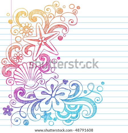 Hand-Drawn Tropical Hibiscus Flowers, Shells, and Starfish Summer Beach Sketchy Notebook Doodles Vector Illustration on Lined Sketchbook Paper Background - stock vector