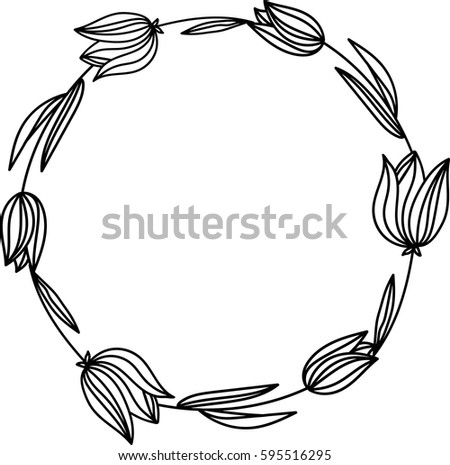 Hand Drawn Tulips Floral Wreath Outline Stock Vector 595516295 Rh Shutterstock Com Christmas Advent