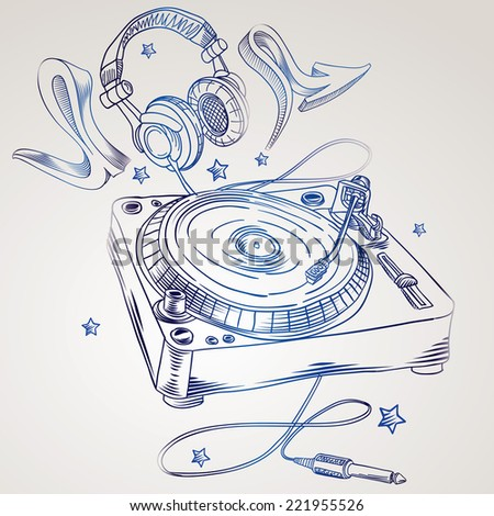Hand-drawn turntable & headphones - stock vector