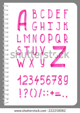 Hand-drawn type with pink alphabet, numbers and punctuation in vector - stock vector