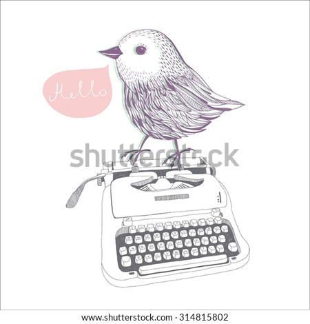 Hand drawn typewriter with bird cute line art painting illustration vintage. - stock vector
