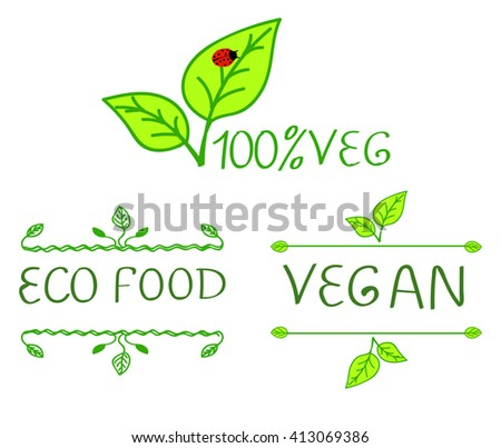 Hand-drawn typographic elements for design. Eco products and vegan food. Chalk written letters on white, VECTOR