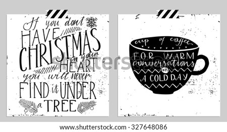 Hand drawn typography card. Merry christmas and happy new year greetings hand-lettering isolated card set in black and white colors. Vector illustration. - stock vector