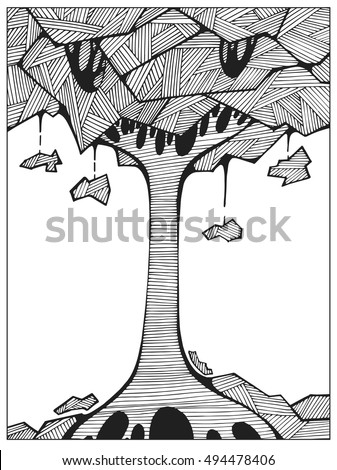 hand drawn uncolored abstract tree on the hill line art for adult coloring book difficult - Difficult Coloring Books