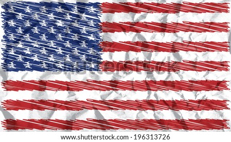 Hand drawn US flag on crumbled paper vector illustration. - stock vector