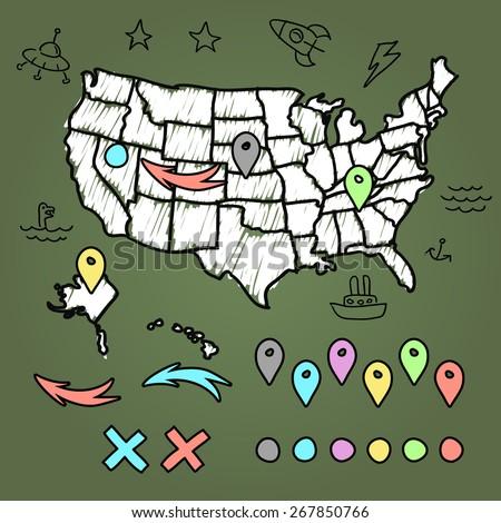 Hand drawn US map on chalkboard vector illustration - stock vector