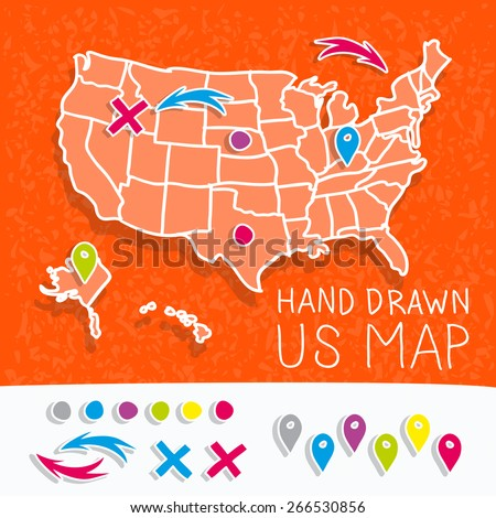 Poster Map United States America State Stock Vector - Cartoon map of the us