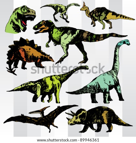 Hand Drawn Various Dinosaurs - stock vector