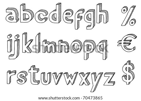 Hand drawn vector abc,3D alphabet with dollar and euro - stock vector