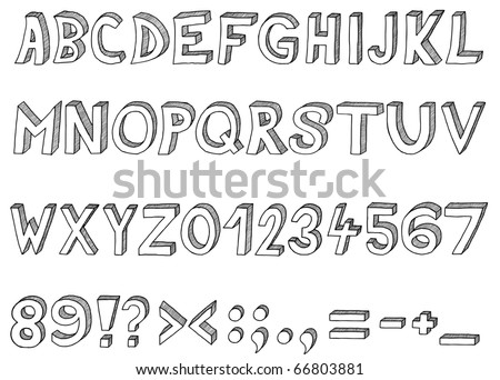 Hand drawn vector abc, font, 3D, alphabet - stock vector