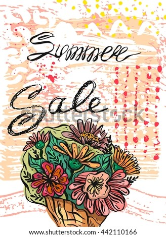 Hand drawn vector abstract template card for Summer sale.Design element for summer sale,flowers shop,food store, travel sale,natural food sale, shopping sale - stock vector
