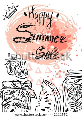 Hand drawn vector abstract template card for Summer sale.Design element for summer sale,fresh food store,natural food sale,fruit shop sale,farmers market sale - stock vector