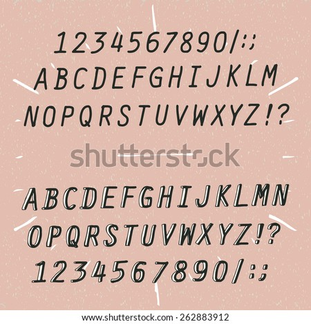 hand drawn vector alphabet two types - stock vector