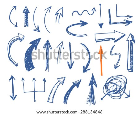 Hand drawn vector arrows set. Vector EPS. - stock vector