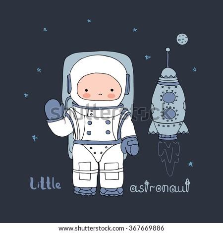 hand drawn vector astronaut in space/baby astronaut/shirt design - stock vector
