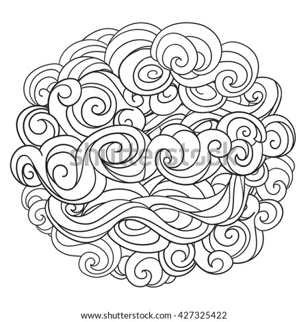 Hand drawn vector background with linear twirl pattern. Template for design and decoration winter greeting cards, covers, invitations. For Christmas and New Year