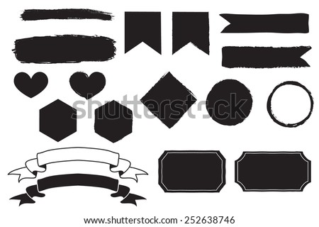 Hand drawn vector banners - stock vector