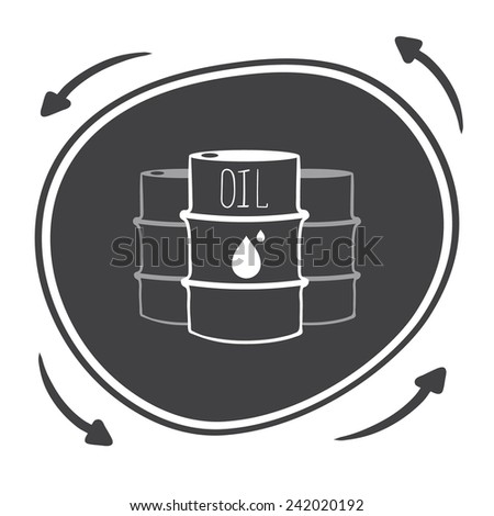 Hand drawn Vector black barrels with oil labels - stock vector