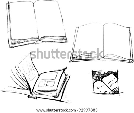 Hand drawn vector books - stock vector