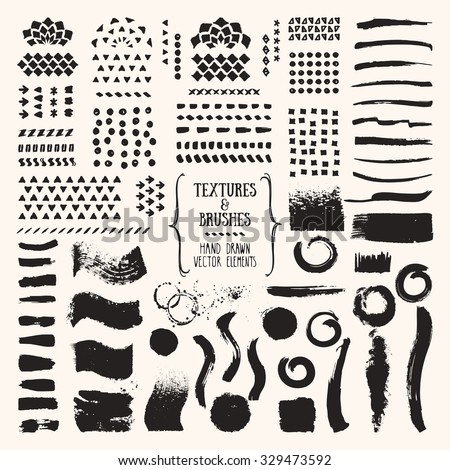 Hand drawn vector brushes and textures. Artistic collection: chalk strokes, dabs of paint, patterns, ink splatters. Art brushes are included in EPS. Isolated design elements. - stock vector