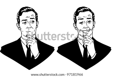 Hand drawn vector business man clip art with different facial expressions. - stock vector