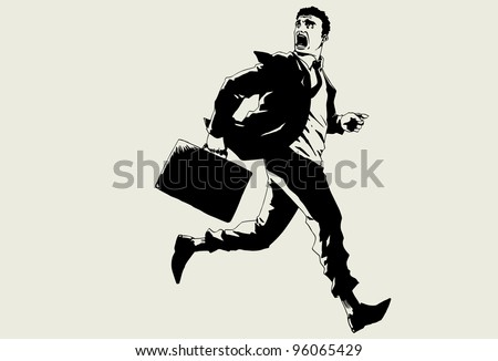 Hand drawn vector business man running. - stock vector