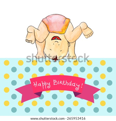 Hand drawn vector card with watercolor baby boy on polka dot background. May be used as an invitation, greeting card, cover, package. - stock vector