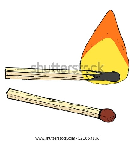 Hand drawn, vector, cartoon, sketch illustration of match sticks - stock vector