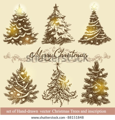Hand-drawn vector christmas trees - stock vector