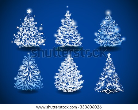 Hand-drawn vector christmas trees on blue background - stock vector