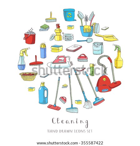 Hand drawn vector cleaning service icons set, Clean symbols, tools, Detergent, broom, sponge, mop, dust pan, brush, bleach, duster, washing liquid, vacuum cleaner, doodle icons, sketch House cleaning - stock vector