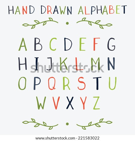 Hand drawn vector color alphabet with upper case  letters